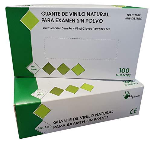 Guantes de Vinilo PVC Sin Polvo MAX GLOVES Desechables Especial Alérgicos Látex - 4,5 gr - Color Natural - 100 unidades (M (Mediana))