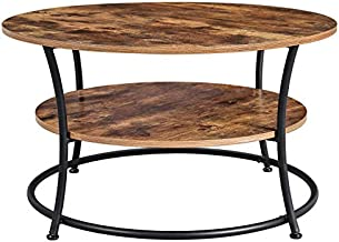 VASAGLE DAINTREE Round Coffee Table,Cocktail Table with Storage Shelf, Easy Assembly, Metal Frame, Industrial Design, Rustic Brown ULCT80BX