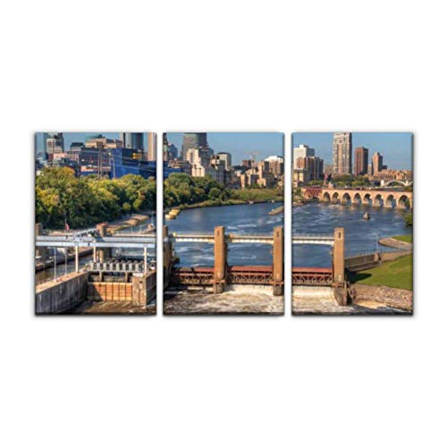 Modern Canvas Painting minneapolis skyline in minnesota, usa mississippi river arounds and Wall Art Artwork Decor Printed Oil Painting Landscape Home Office Bedroom Framed Decor (16'x24'x3pcs)