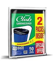Sanita Club Garbage Bags Flat, 50 Gallons Large - Pack of 2 x 20 Bags