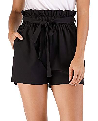 MISS MOLY Kurze Hose Damen Sommer Shorts Hohe Taille mit Bindergürtel High Waist Leicht Schwarz Medium