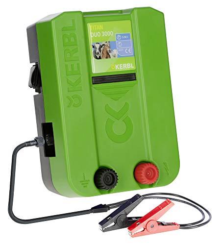 Kerbl Weidezaungerät Titan Duo 3000, 3.0 J Weidezaun Gerät Stromversorgung Batterie-Akku-Netz-Gerät