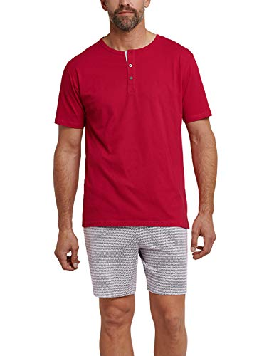 Schiesser Herren Kurz Zweiteiliger Schlafanzug, Rot (Rot 500), X-Large (Herstellergröße: 054)