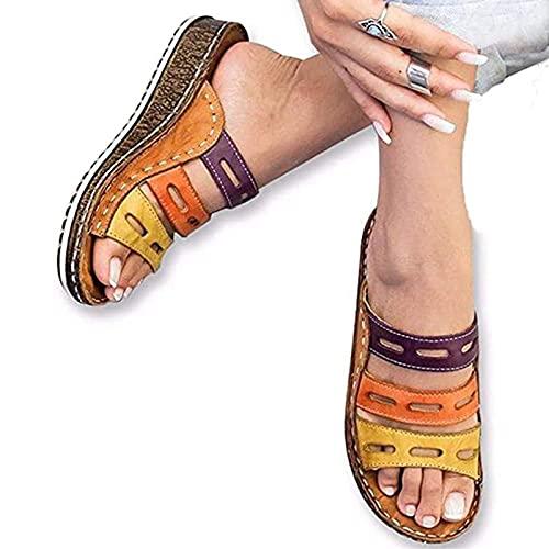 DYHOZZ Sandalias Planas Sandalias de Punta Cerrada para Mujer para Mujer Sandalias Cómodas de Verano Casuales 2021 Chanclas Zapatillas de Punta Abierta Zapatos de Viaje de Playa de Verano