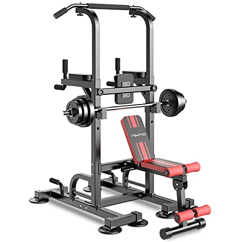 nimto Power Tower with Bench, Workout Dip Station for Home Gym Adjustable Multi Pull Up Bar Strength Training Fitness Equipment & 440LBS