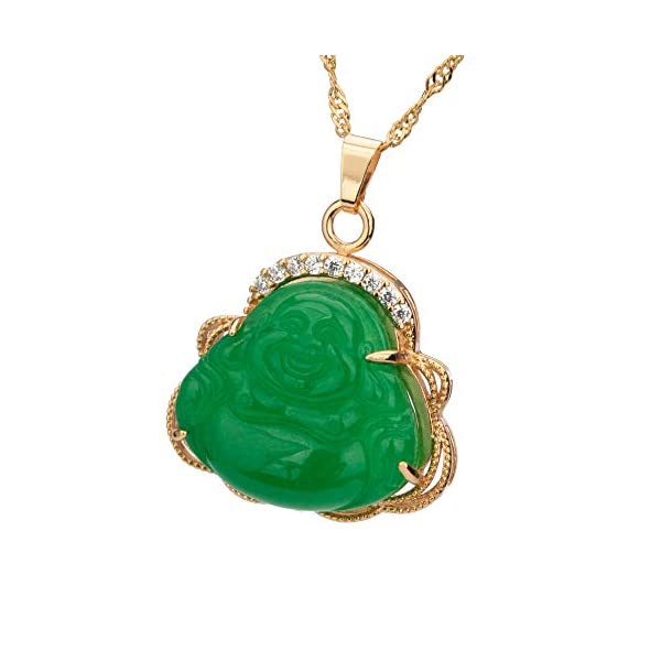 Prime Feng Shui Natural Jade Laughing Buddha Pendant Necklace 24K Golden Plated Water Wave 24 inch Chain Amulet Gift Attract Good Luck