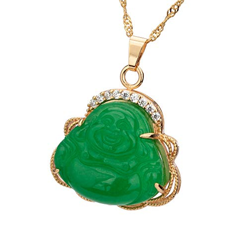 ZenBless Laughing Buddha Pendant for Women Men Green Necklace Golden Plated Copper Water Wave Chain Amulet Gift Attract Good Luck