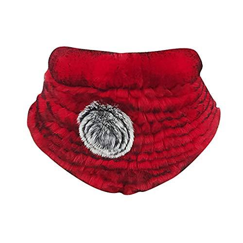 Mymyguoe Modischer Faux Fuchs Pelzkragen für Frauen und Damen, Stehkragen, Nackenwärmer Herbst Winter Rose Flower Ring Cowl Schals