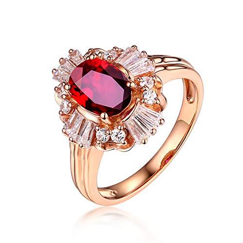 AueDsa Anillo Rojo Oro Rosa Anillo Mujer Oro Rosa 18 Kilates Oval Rubí Rojo Blanco 0.99ct Anillo Talla 9,5