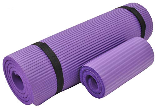 Everyday Essentials 1/2-Inch Extra Thick High Density Anti-Tear Exercise Yoga Mat with Knee Pad and Carrying Strap, Purple