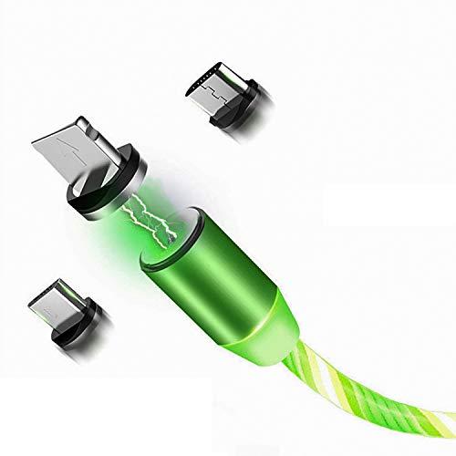 Smitech Magnetisches Ladekabel 3 in 1 USB Ladekabel Magnet- mit fließendem LED Licht kompatibel mit Micro-USB/Typ USB C/Lighting für Phone, Samsung Galaxy, Huawei und Mehr 1-Meter (Grün)