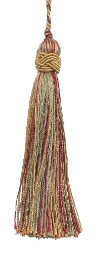 DÉCOPRO Set of 10 Decorative Gold, Wine, Mint Green 10cm Tassel, Imperial II Collection Style# Its Color: Holiday Splendor - 3752