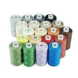Simthread Bobine de fil à coudre en coton pour machine à coudre et à matelasser - 20 couleurs