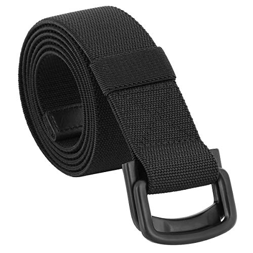 Sportmusies Elastic Belts for Men, Military Style Stretch Webbing Tactical Duty Belt (Black,D-Ring Buckle)