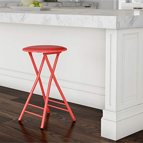 Trademark Home Folding Stool – Heavy Duty 24-Inch Collapsible Padded Round Stool with 300 Pound Capacity for Dorm, Rec Room or Gameroom (Red)