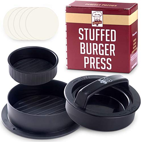 RZSAIDA Non Stick Burger Press Patty Maker + 40 Wax Paper Discs, Easy to Use, Dishwasher Safe, Works Best for Stuffed Burgers, Sliders, Regular Beef Burger, Essential Kitchen & Grilling Accessories