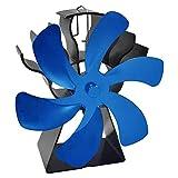 MagiDeal Ventilador de Chimenea Redondo de 6 aspas Ventilador de Estufa con Calor para leña/Quemador de leña/Chimenea Ventilador de distribución de Calor - Azul