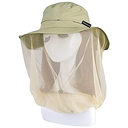 Mosquito Head Net Hat, UV Protective Sun Cap with Mesh Protection from Insect Khaki