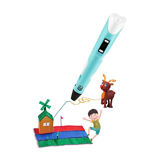 JDYDDSK 3D Pen for Kids Child Safe Printing Pen - Includes 3D Pen, 5 meters PLA Filament, Copy painting + Paper card, and Pen Holder, Dredge(Compatible with ABS/PLA),Blue