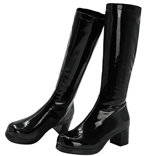 AIMODOR Kniehoch Stiefel Damen Blockabsatz High Heels Plateau Lackstiefel mit Reißverschluss schwarz 38