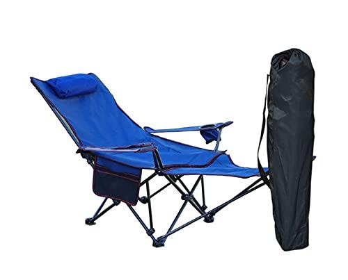LJWLZFVT Silla de Camping reclinable portátil Silla de Oficina Ultraligera Silla de Camping Plegable con reposapiés y Respaldo Ajustable Hecha de Tela Oxford 600D-Azul 163x63x70cm