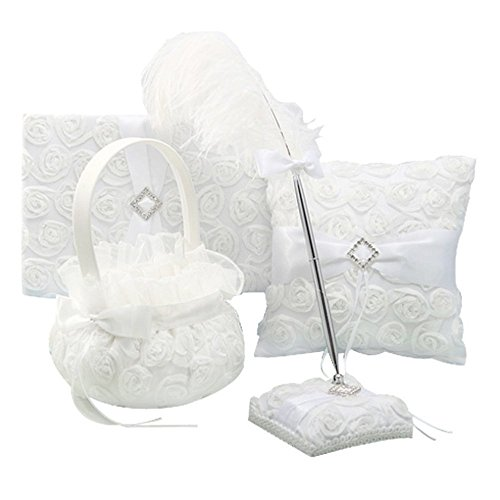 4Pcs Romantic Wedding Ceremony Party Favor Sets, Vintage Retro Lace Flower Feather Wedding Ring Pillow+ Girls Flower Basket +Guest Book +Pen Set for Elegant Wedding Party Wedding Decoration Supplies