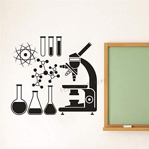 NLIFEB Wissenschaftliche Erforschung Vinyl Wandtattoo Klassenzimmer Klassenzimmer Dekoration Schule Mikroskop Mikroskop Wandaufkleber chemische Atom Wandmalerei 42x38cm