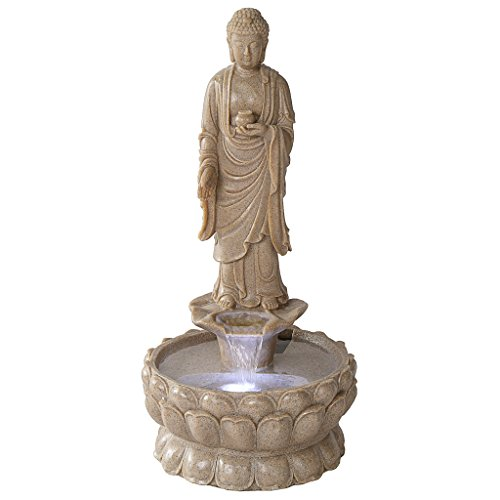Asian Decor Water Fountain with LED Light - Earth Witness Buddha Garden Decor Fountain: Large - Outdoor Water Feature