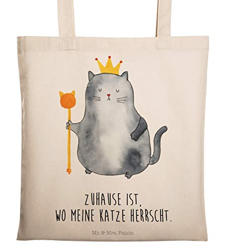 Mr. & Mrs. Panda Umhängetasche, Jutebeutel, Tragetasche Katzen Koenig mit Spruch - Farbe Transparent