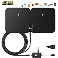 1 By One Indoor/Outdoor Amplified Digital TV Antenna with 26ft Coaxial Cable
