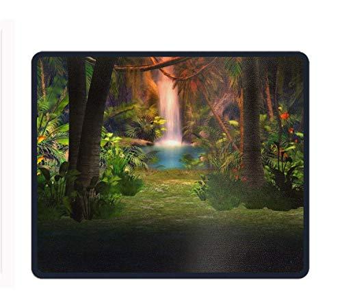Personalisierte Rechteck-Mauspad, gedruckte künstlerische Fantasie-Blumen-Pflanze Wasserfall-Baum-Wald, rutschfestes bequemes Computer-Mauspad