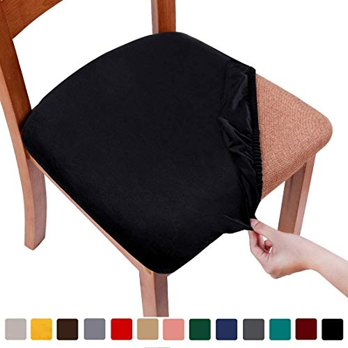 Smiry Stretch Stuhl-Sitzbezüge für Esszimmer, Samt gepolstert, Esszimmerstuhl, Sitzkissenschoner, abnehmbar, waschbar, Schwarz, Set of 6 (6PCS)