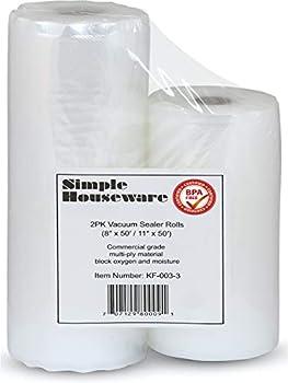 SimpleHouseware Vacuum Sealer Bags Roll Food Sous Vide Bag Roll 2-Pack  11  x 50  and 8   x 50  total 100 feet