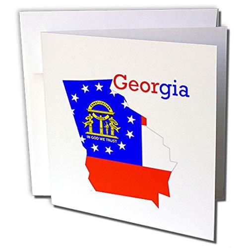 3dRose gc_245140_2 wenskaarten met motief van de vlag Georgië op de staat, 15 x 15 cm, 12 stuks