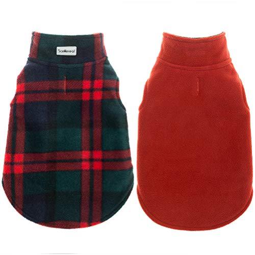 SCENEREAL Hundewinterkleidung Reversible Fleece-Jacke warme Mantel-Winddichtes Weihnachtskostüm kaltes Wetter Tragen XS Rot grün