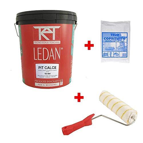 Kit Pittura traspirante anallergica antimuffa per interni LEDAN con teli e rullo - 16 litri