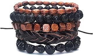 Manchette pour homme Combo 5 bracelets tendance en cuir bois et corde.