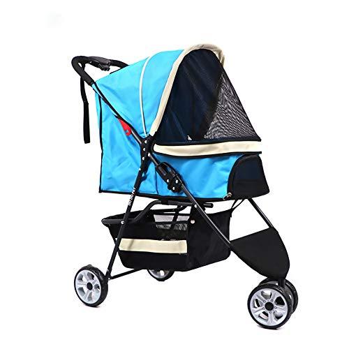 Caige Kinderwagen, Leicht Faltbarer, atmungsaktiver DREI-Räder-Hundetransportwagen für kleine, mittelgroße Hundekatzen,Blau