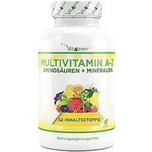 Multivitamínico A-Z - 365 comprimidos (12 meses) - 32 principios activos - Combinación de minerales + aminoácidos + oligoelementos + extractos de plantas - Vegano - Altamente dosificado