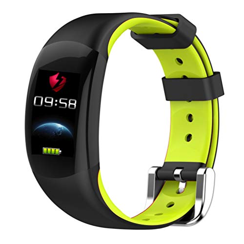 YWYU Smart Watch LEMFO LT02 Smart Band 2 IP68 Impermeable Bluetooth Fitness Pulsera Charm Hombre Mujer Pulsera Relojes para Xiaomi Mi Wrist Band Reloj GPS Incorporado para iOS Android (Color : Green)