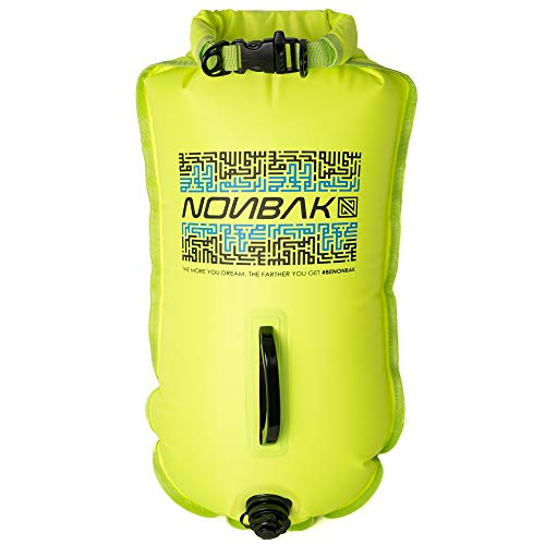 Nonbak boya estanca natación Color Lima 28L Nadadores,Aguas Abiertas, Kayak, Paddle Surf. Ideal para Guardar Cosas. Bolsa Seca. 100% Impermeable