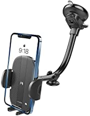 Car Phone Holder Mount, Sturdy Car Phone Mount with 8.26-Inch Gooseneck Long Arm, Industrial-Strength Strong Suction Cup Car Mount, Universal Dashboard Windshield Phone Holder Car for CellPhone iPhone