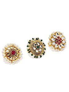 Zaveri Pearls Combo Of 3 Traditional Finger Ring For Women-ZPFK8732