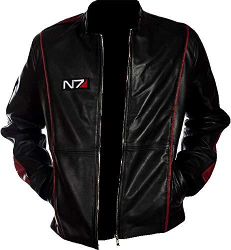 HiFacon N7 Mass Effect 3 - Chaqueta de piel para motociclista para hombre, color negro