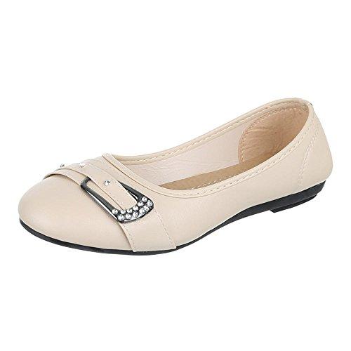 Damen Schuhe, H-98, Ballerinas, Strass BESETZTE Pumps, Synthetik in hochwertiger Lederoptik, Beige, Gr 38