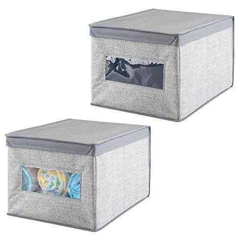 mDesign Contenitore cameretta bambini - Set da 2 - Contenitore portagiochi da usare come organizer cassetto - Contenitore per oggetti bimbo, giocattoli o coperte - Colore: grigio