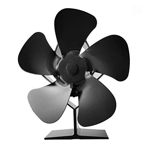 Rubyu-123 Kaminventilator Stromloser Ventilator Wärmebetriebener Ofenventilator für Ofen, Kamin, 5 Klingen, Ofenventilator Feuerstelle Kaminöfen Ofen Fan Ohne Strom, Umweltfreundlich (Schwarz)