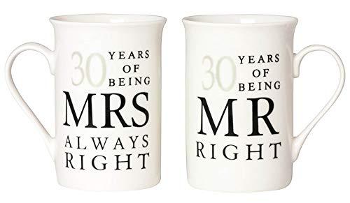Haysoms Ivory 30th Anniversary Mr Right & Mrs Always Right Mug Gift Set