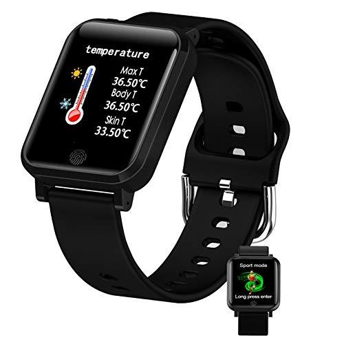 FMSBSC Smartwatch Pulsera Actividad con Medidor De Temperatura Corporal Pulsómetro, Reloj Inteligente para Deporte, Podómetro, Pulsera Deporte para Android Y iOS,Negro
