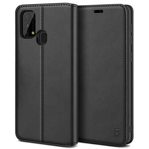BEZ Handyhülle für Samsung Galaxy M31 Hülle, Premium Tasche Kompatibel für Samsung M31, Tasche Hülle Schutzhüllen aus Klappetui mit Kreditkartenhaltern, Ständer, Magnetverschluss, Schwarz